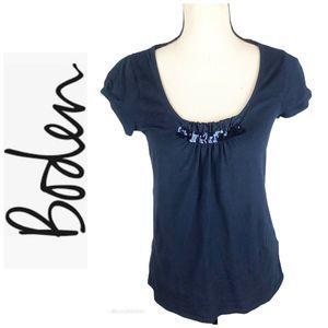Boden Navy Blue Short Sleeve Knit Top Sequin 8